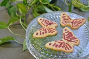 biscotti al burro a forma di farfalla stampati in 3d