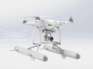 drone che atterra sull'acqua